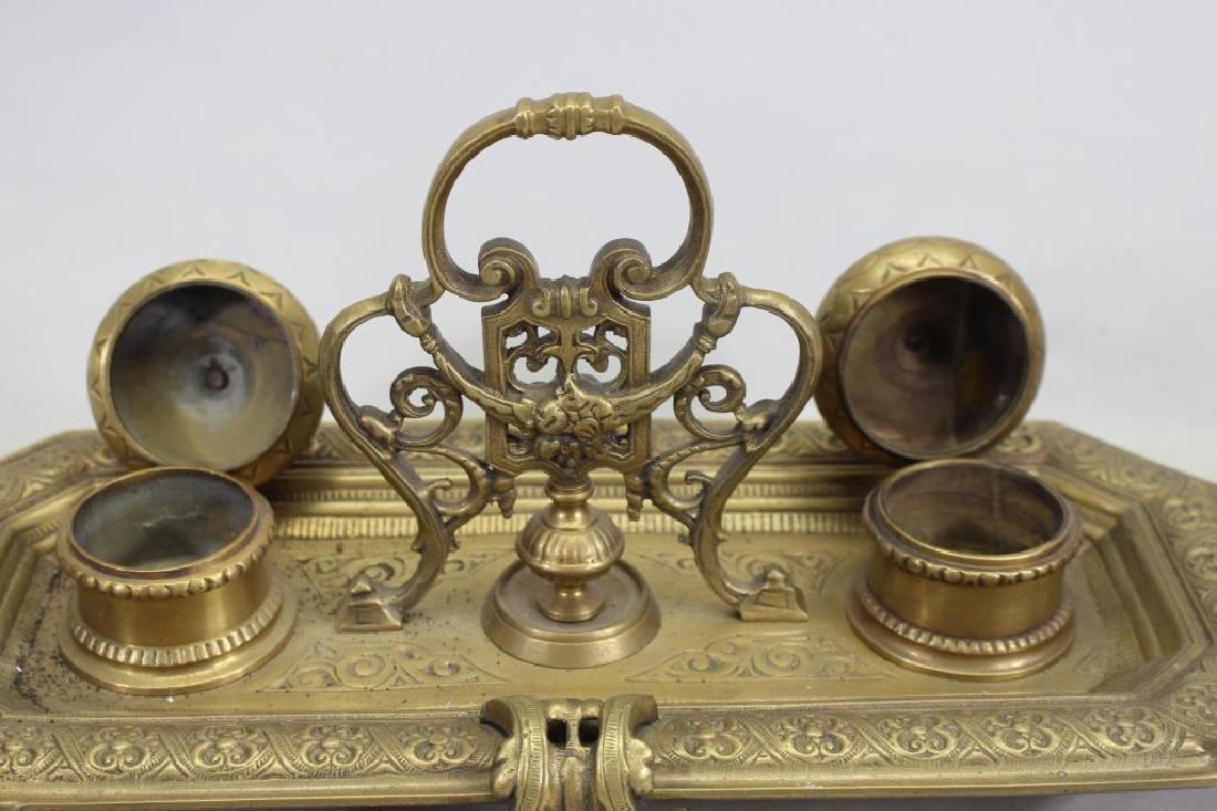 Antique Bronze Inkwell - 3