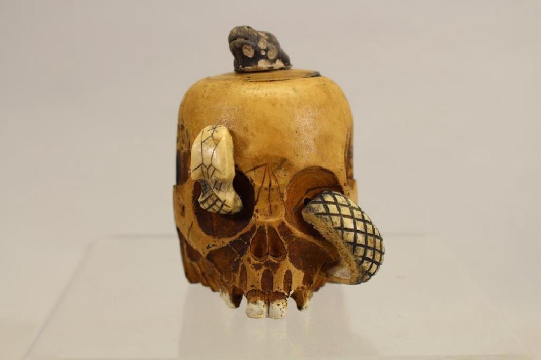 Folk Art Skull Ink Well w/ Glass Insert