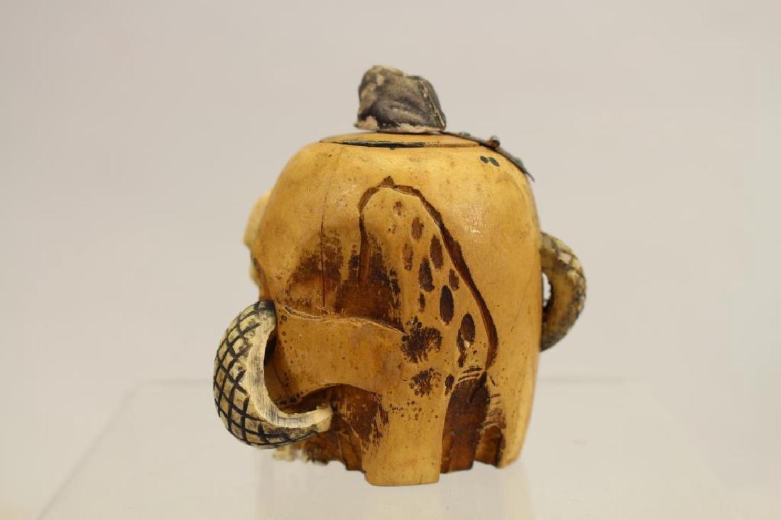 Folk Art Skull Ink Well w/ Glass Insert - 2
