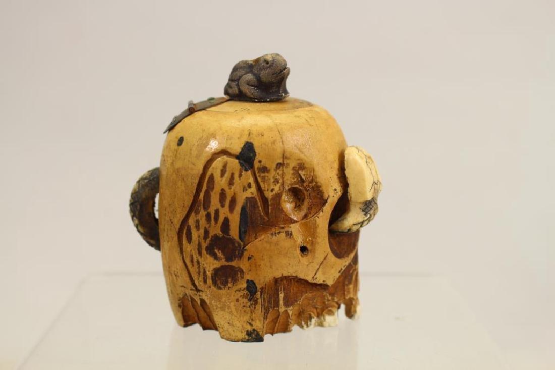 Folk Art Skull Ink Well w/ Glass Insert - 3