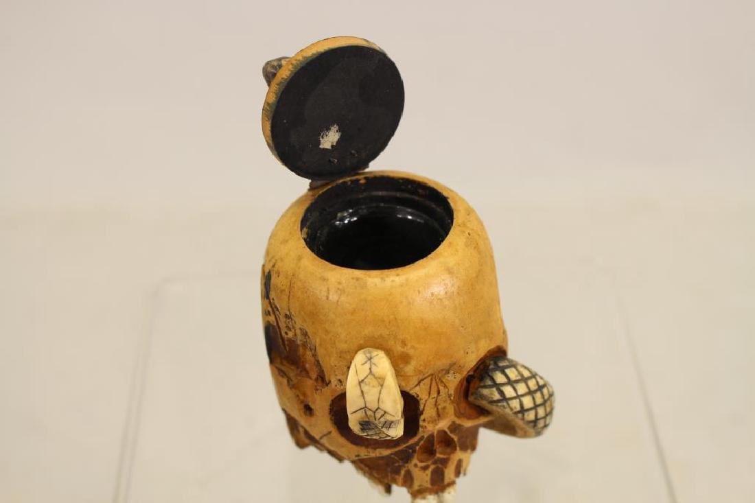 Folk Art Skull Ink Well w/ Glass Insert - 4