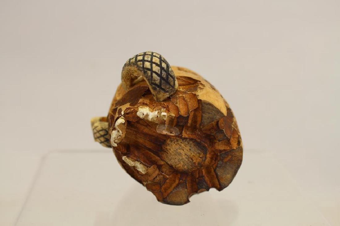 Folk Art Skull Ink Well w/ Glass Insert - 5