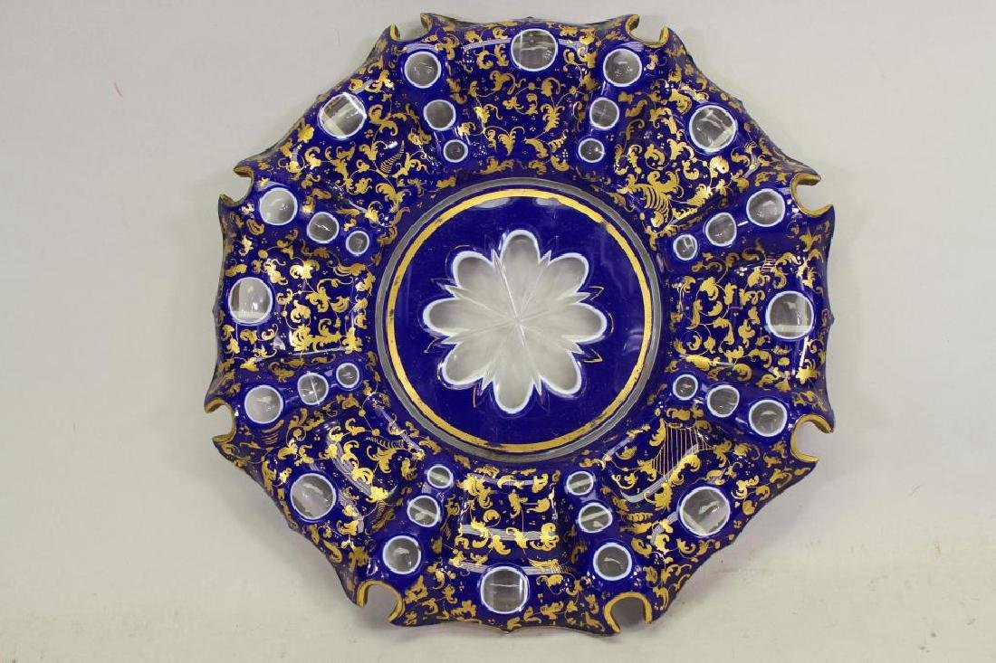 Italian Cobalt/Gilt Glass Dish