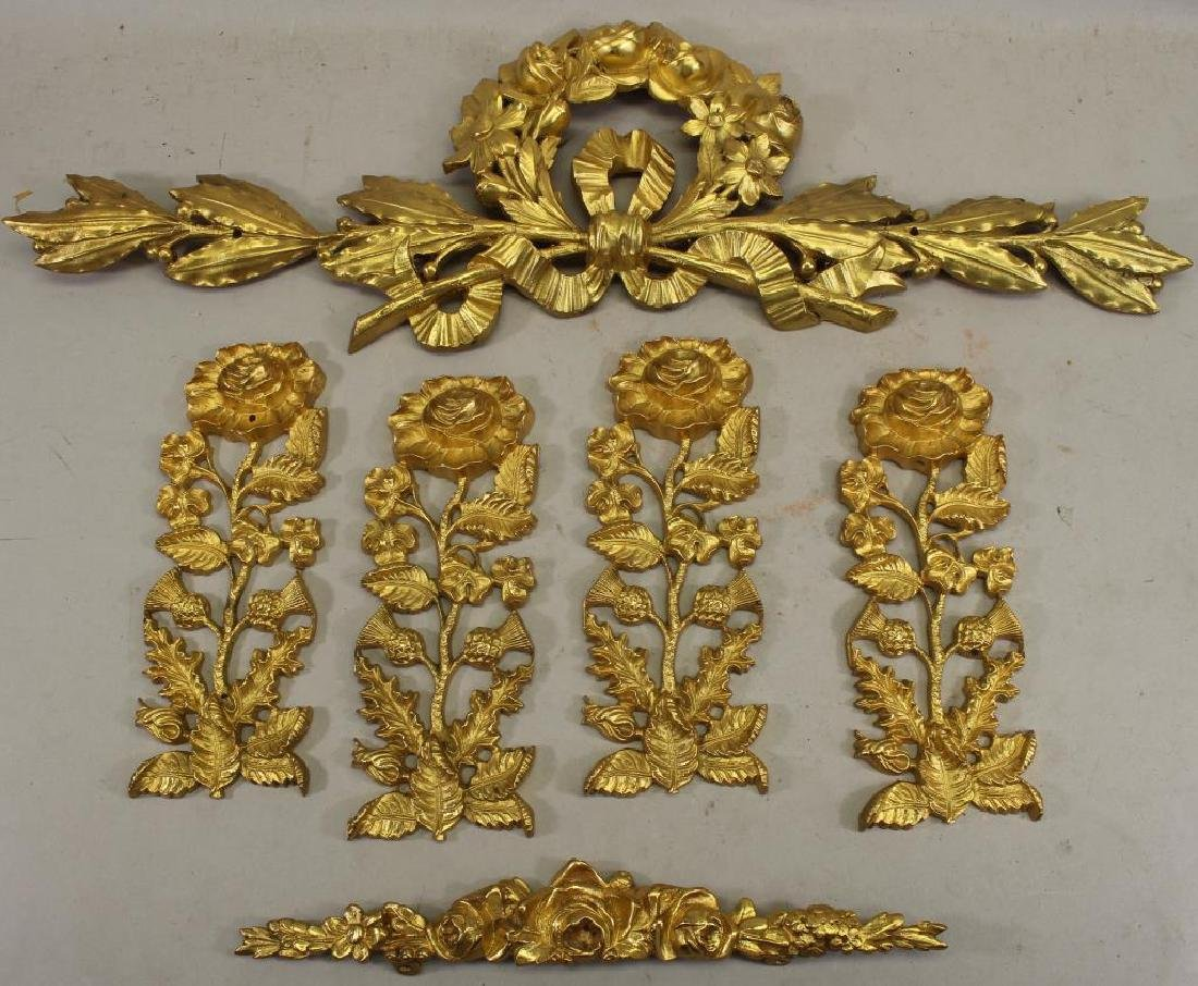 (6) French Gilt Bronze Floral Mounts