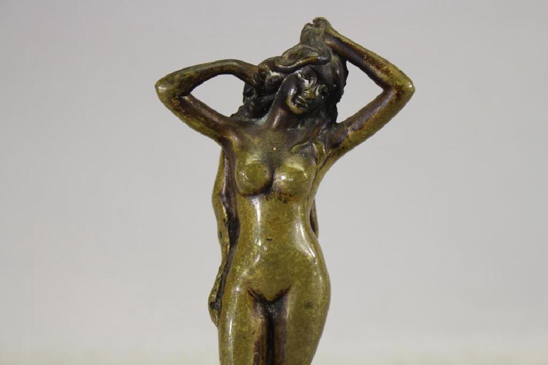 Bronze Art Deco Figure on Green Onyx Base - 2