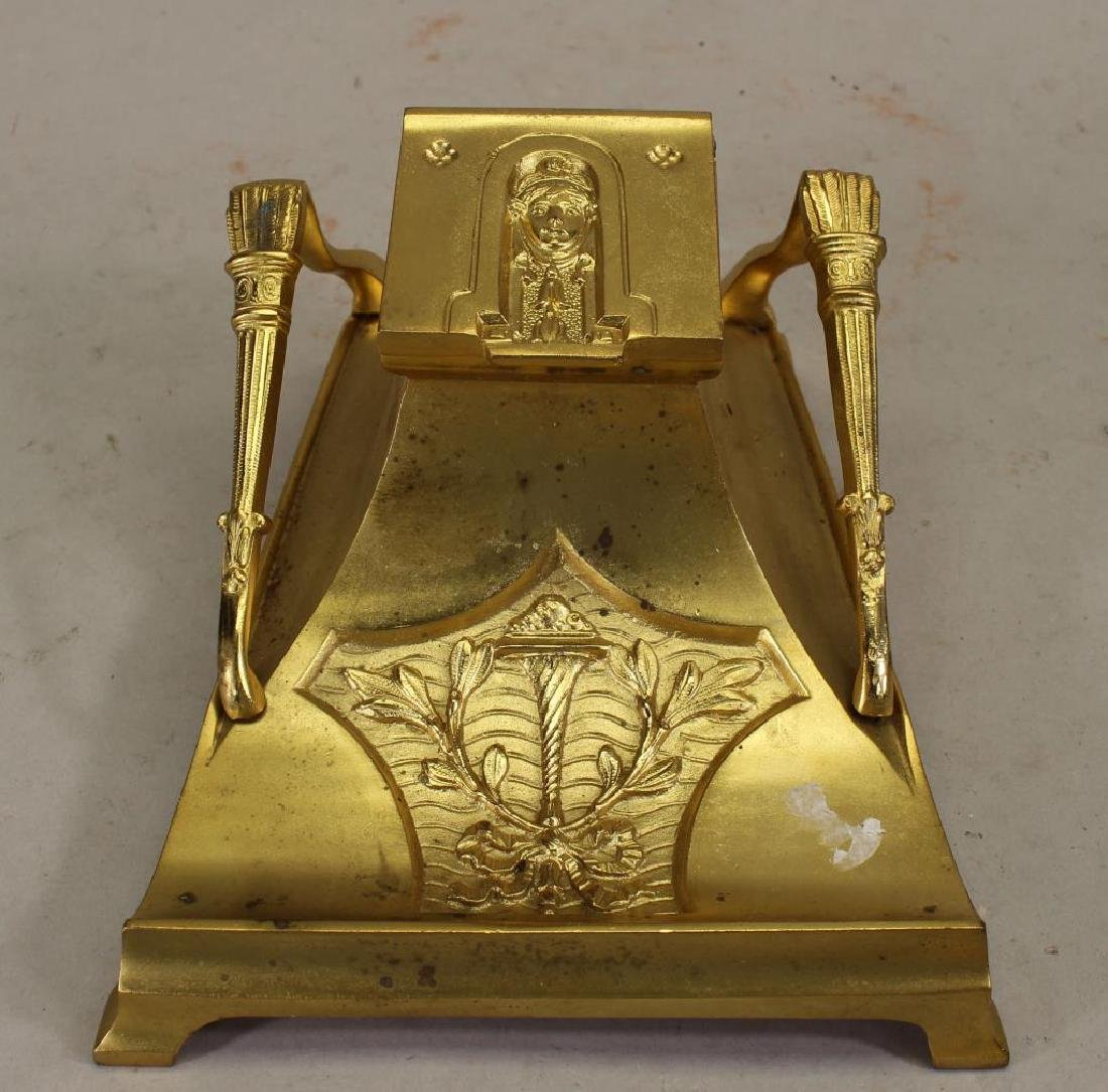 French Art Nouveau Gilt Dore Bronze Inkwell