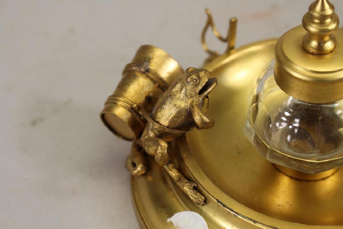 Gilt Metal/Glass Inkwell with Frog - 2