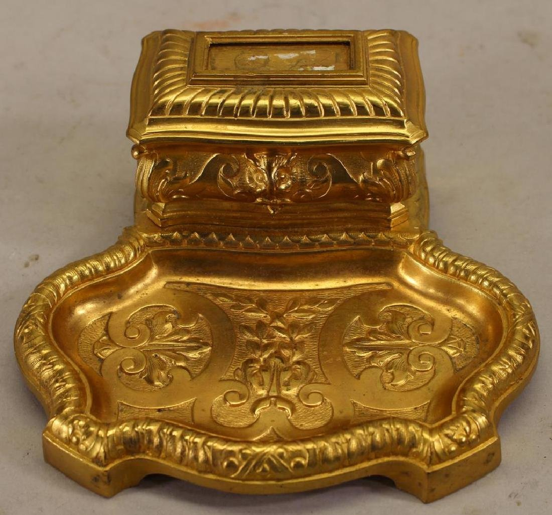 French Gilt Bronze Inkwell