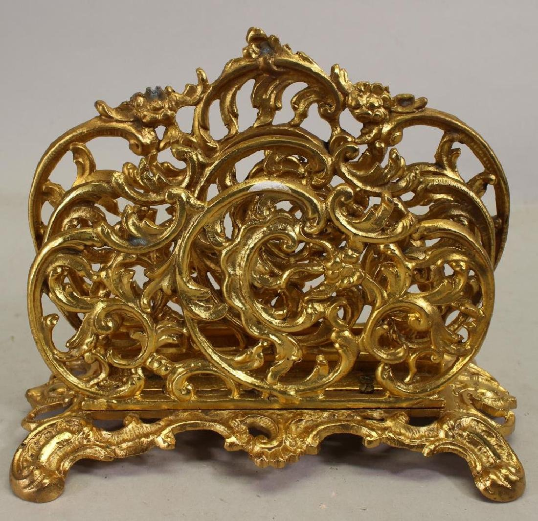 French Gilt Bronze Footed Letter Holder