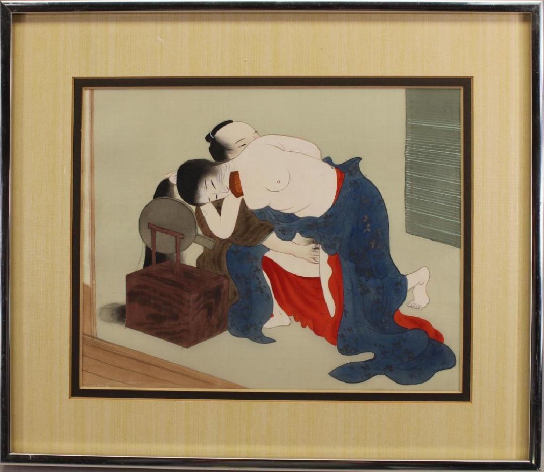 Japanese Mixed Media Erotica Painting