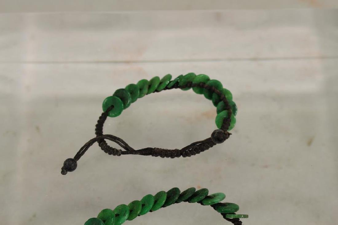 (2) Green Stone and Cord Bracelets - 2