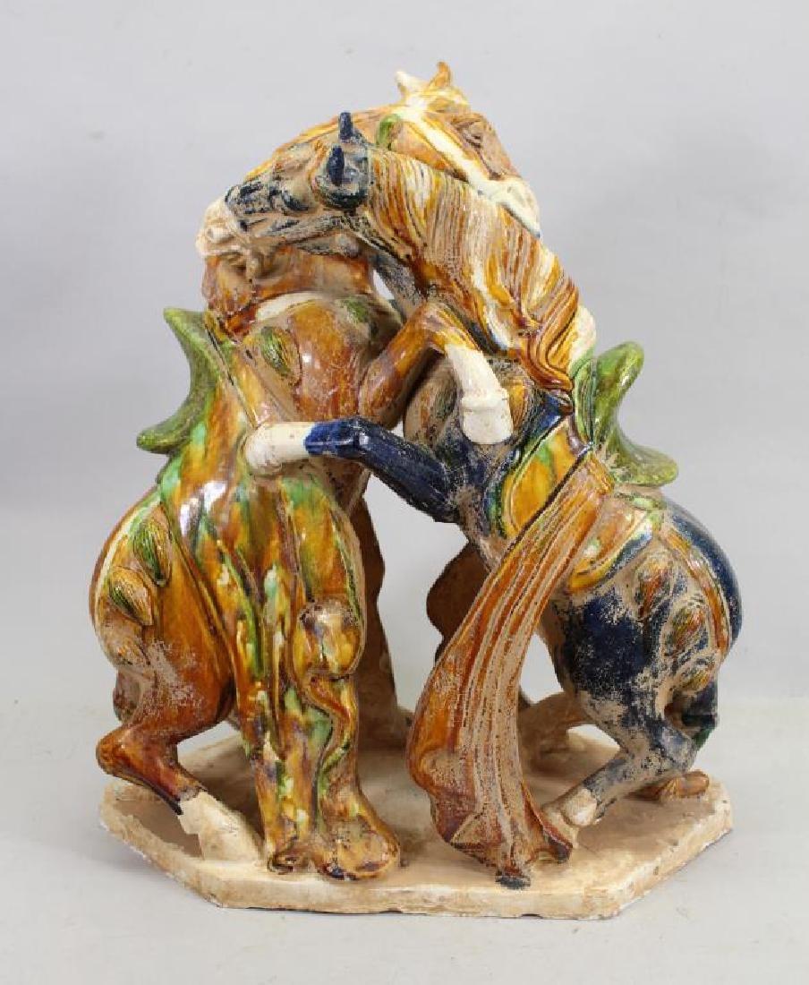 Chinese Glazed Pottery Fighting Horses