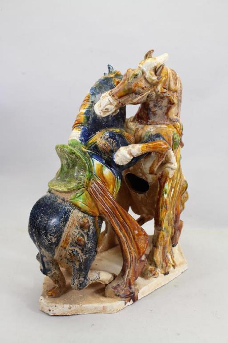 Chinese Glazed Pottery Fighting Horses - 4