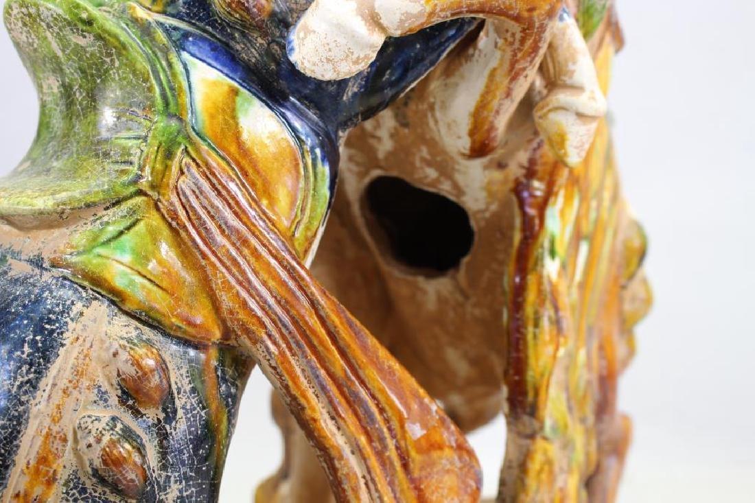 Chinese Glazed Pottery Fighting Horses - 5