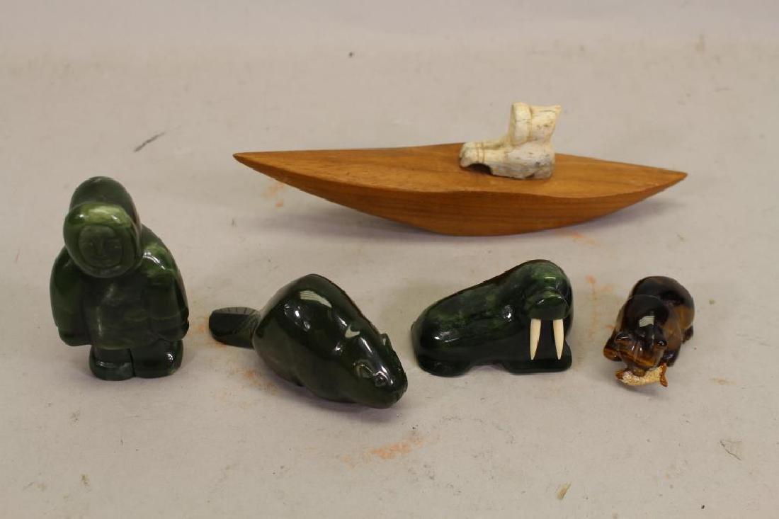 (5) Lot of Eskimo Carving Figurines