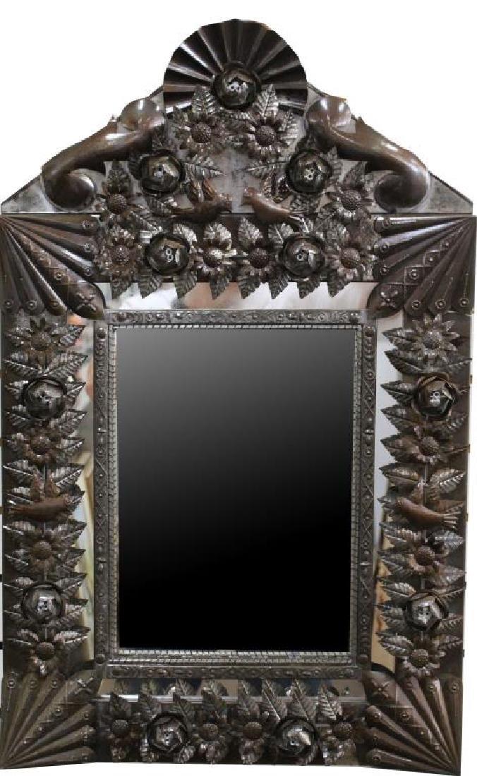 Vintage Elaborate Tin Mirror