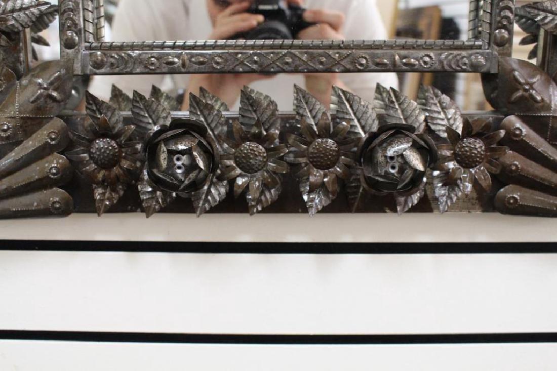 Vintage Elaborate Tin Mirror - 3