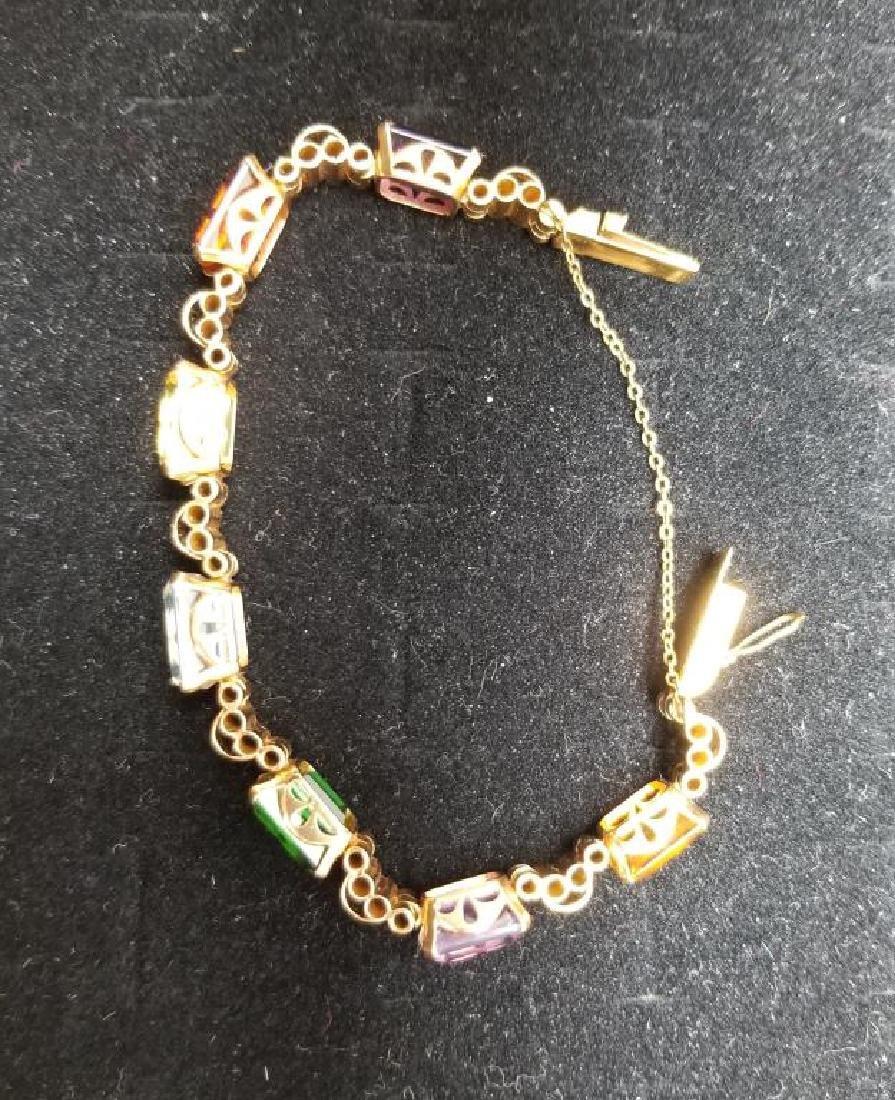 Gold Bracelet w/ Emerald Cut Mixed Stones - 4