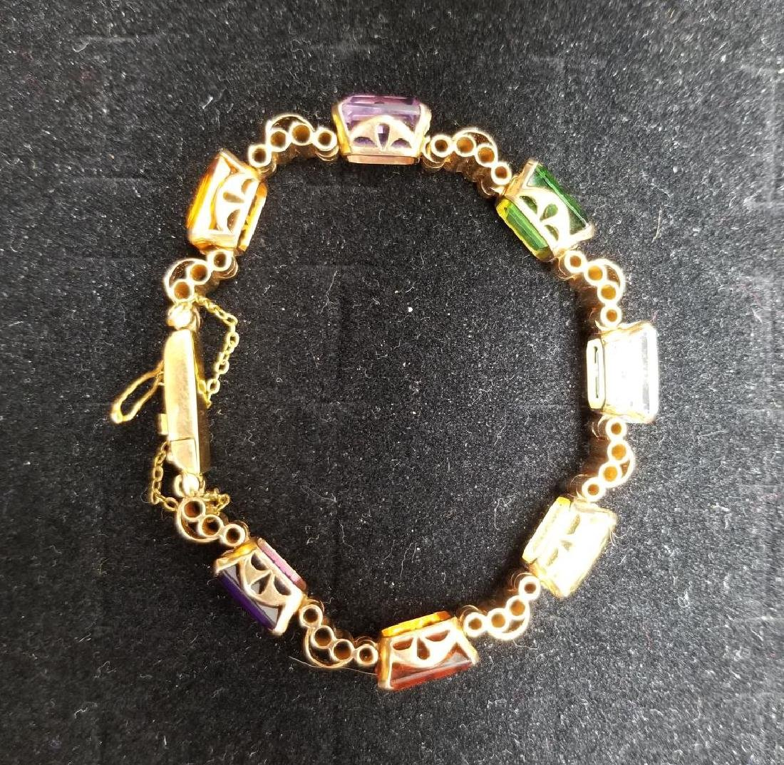 Gold Bracelet w/ Emerald Cut Mixed Stones - 5