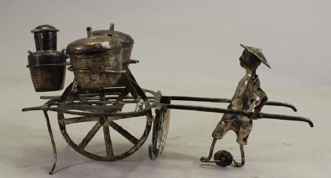 20th C. Chinese Silver Man with Cart