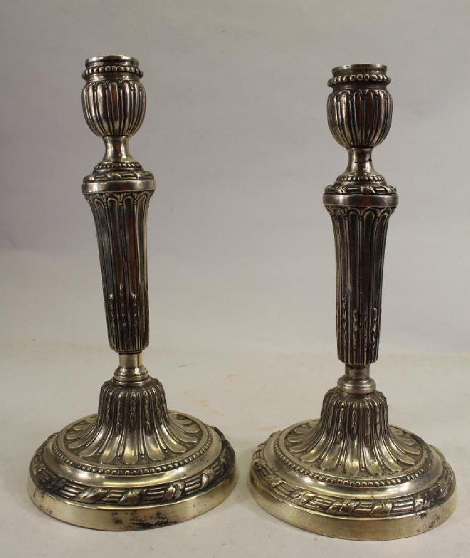 Pair of Antique Silverplate Candle Holders