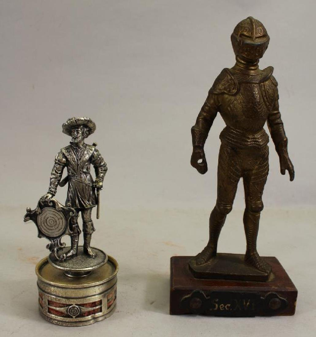 (2) Military Figures, One Silvered Bronze