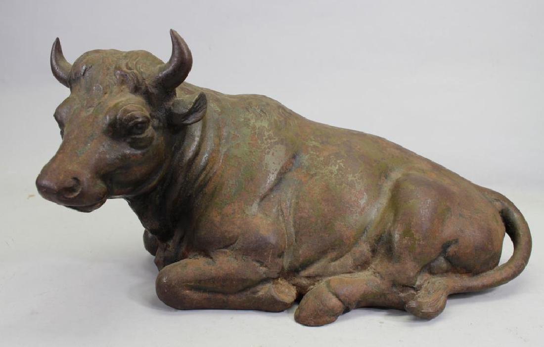Antique Cast Iron Statue of Bull