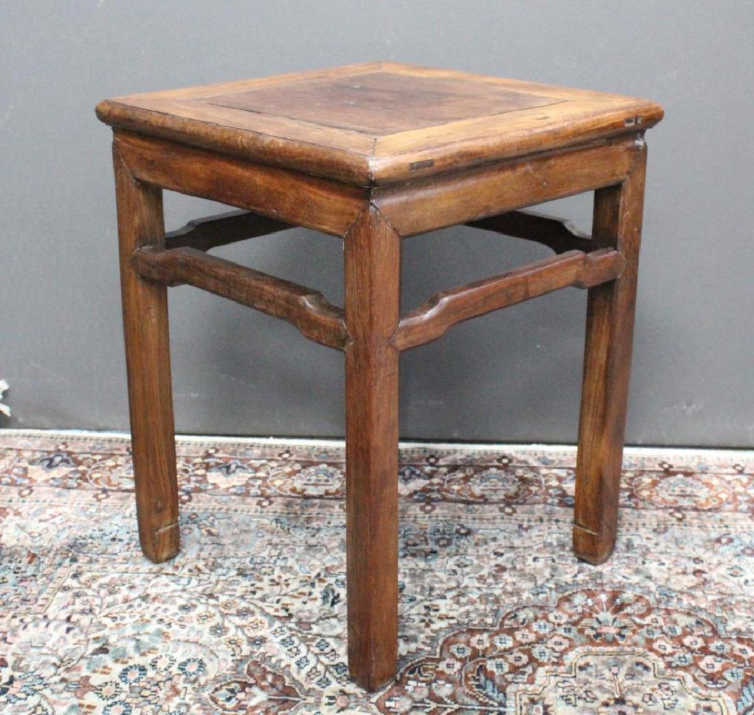 Chinese Carved Wooden Stool, Signed