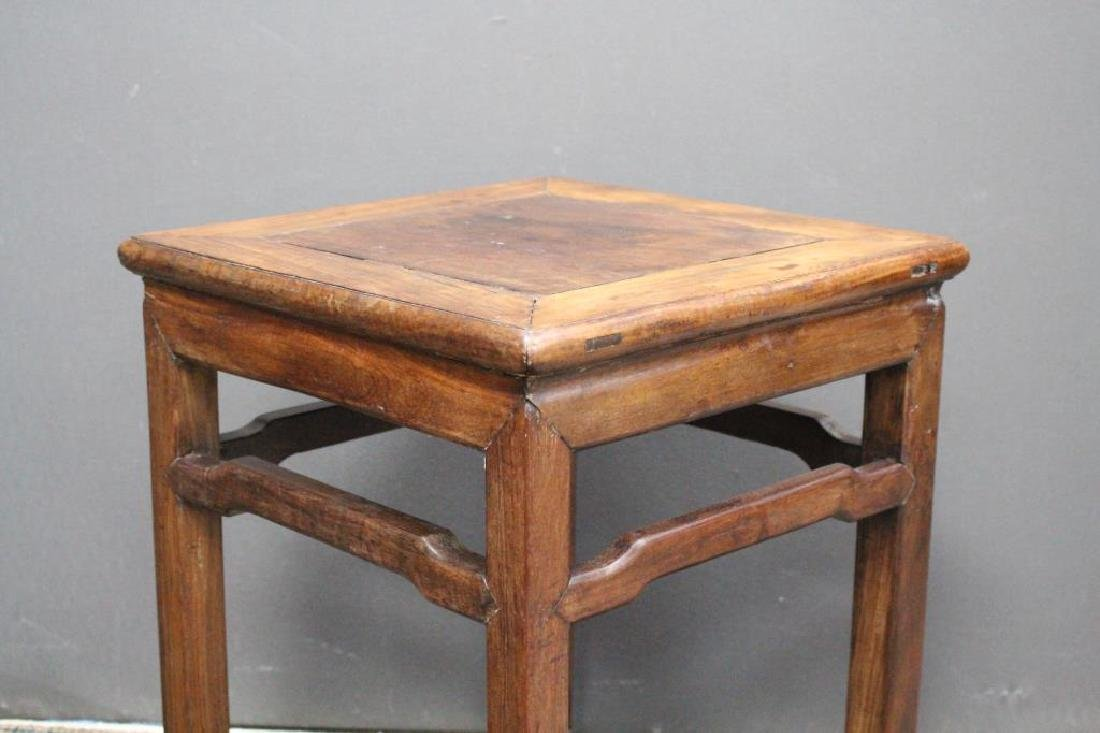 Chinese Carved Wooden Stool, Signed - 5