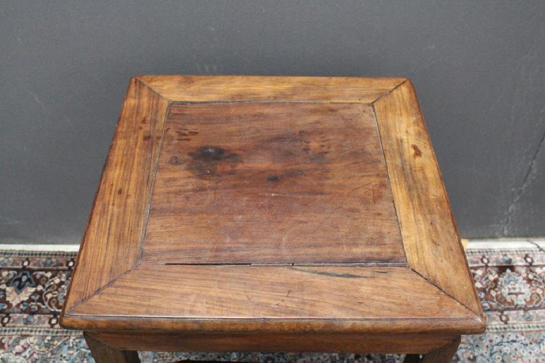 Chinese Carved Wooden Stool, Signed - 6