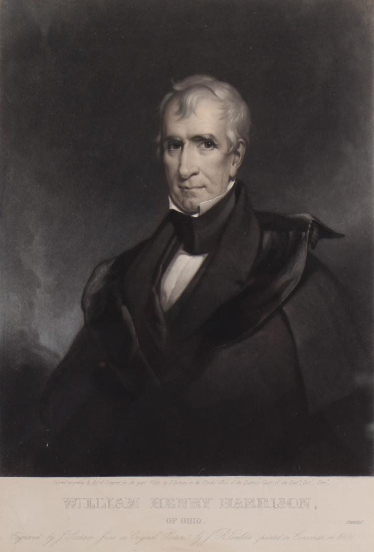 Antique Framed Engraving of William H. Harrison - 2