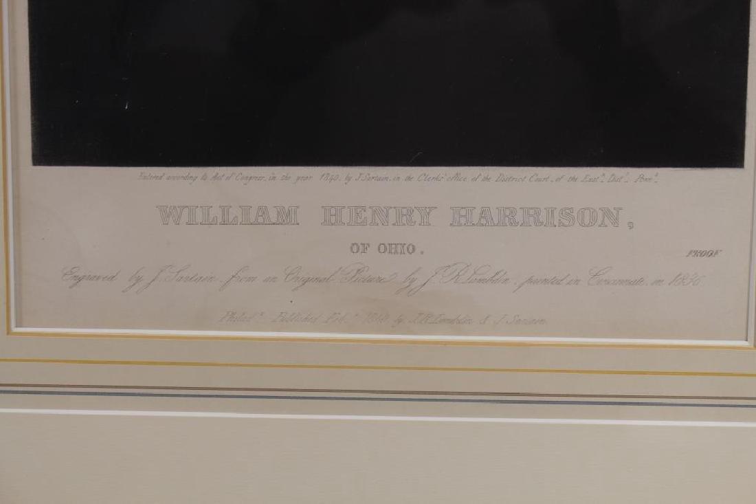 Antique Framed Engraving of William H. Harrison - 3