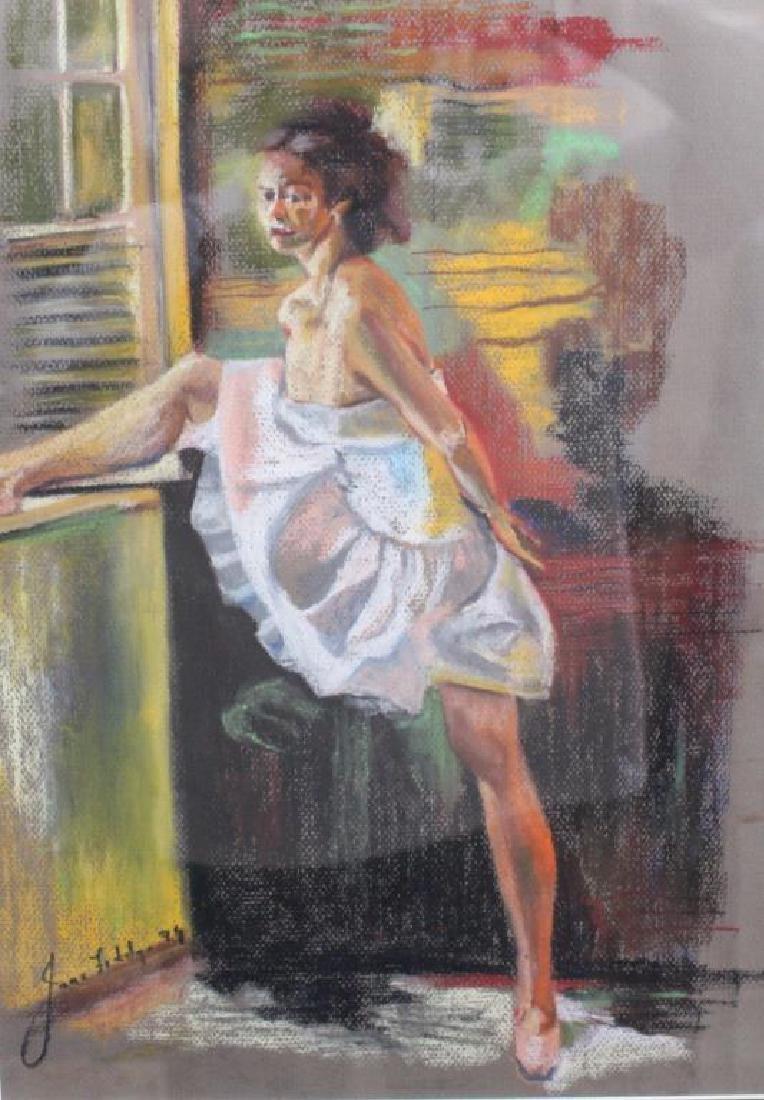 Signed Pastel of Ballet Dancer, 20th C.
