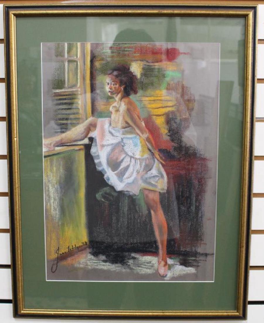 Signed Pastel of Ballet Dancer, 20th C. - 2