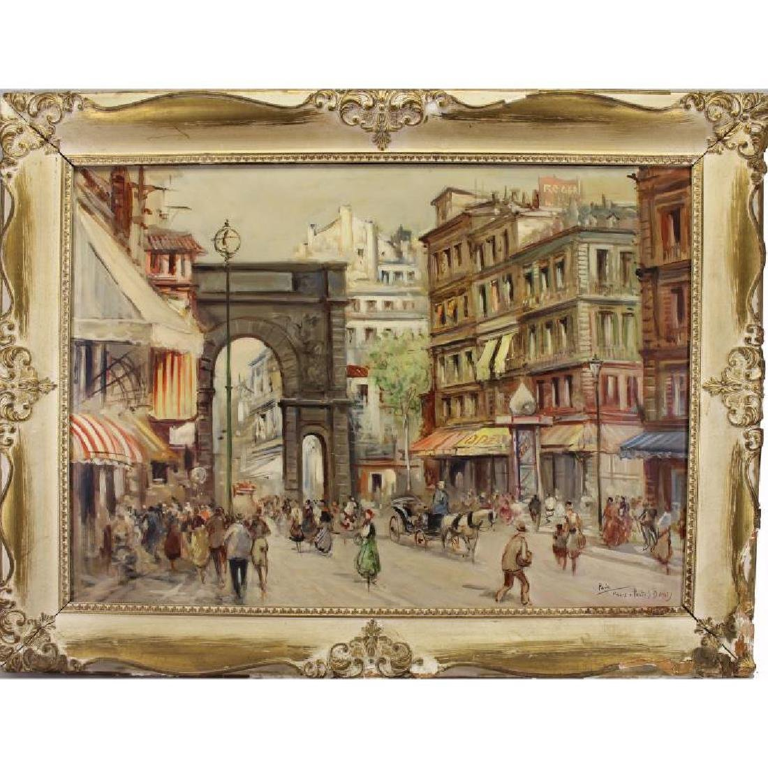 Early 20th C. Paris Street Scene with Figures