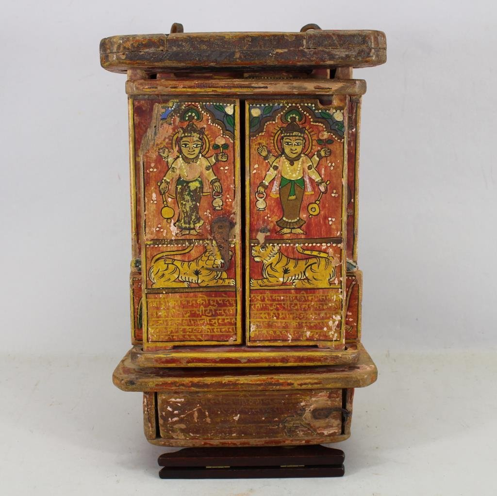 Antique Wooden Tibetan Travel Shrine