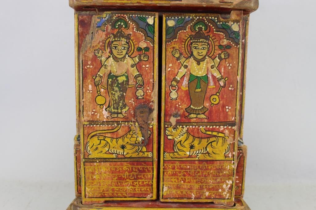 Antique Wooden Tibetan Travel Shrine - 2