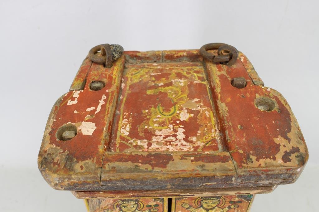 Antique Wooden Tibetan Travel Shrine - 3