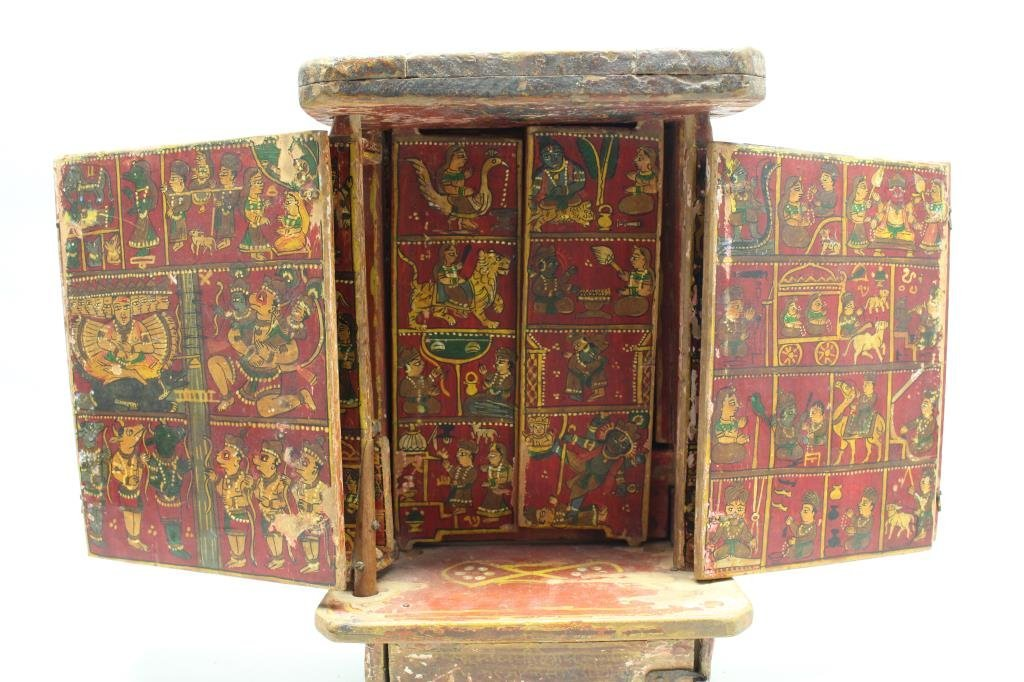 Antique Wooden Tibetan Travel Shrine - 5