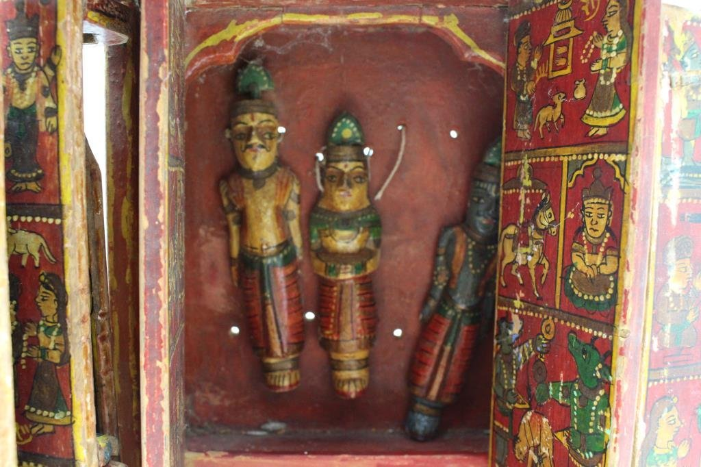 Antique Wooden Tibetan Travel Shrine - 6