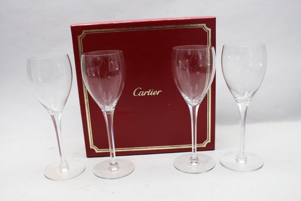 (4) Signed Cartier Wine Glasses - 7
