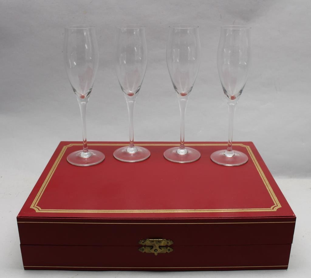 Signed Cartier Boxed Champagne Flutes (4) Set