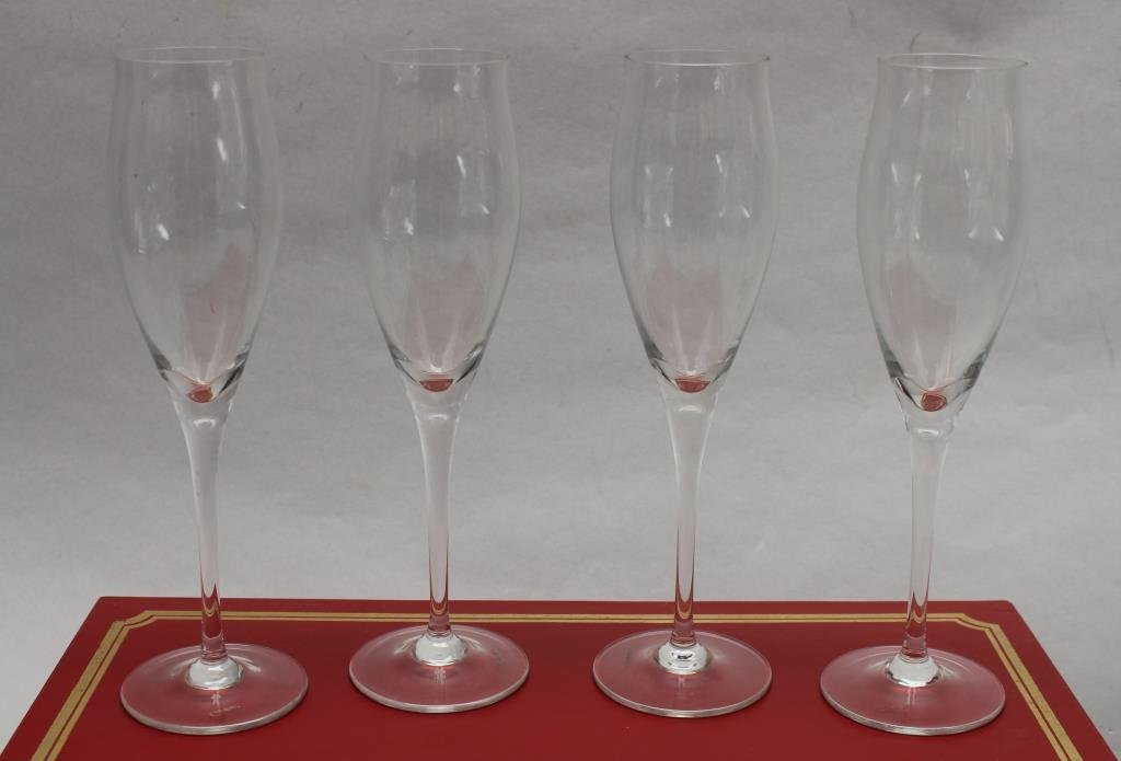 Signed Cartier Boxed Champagne Flutes (4) Set - 2