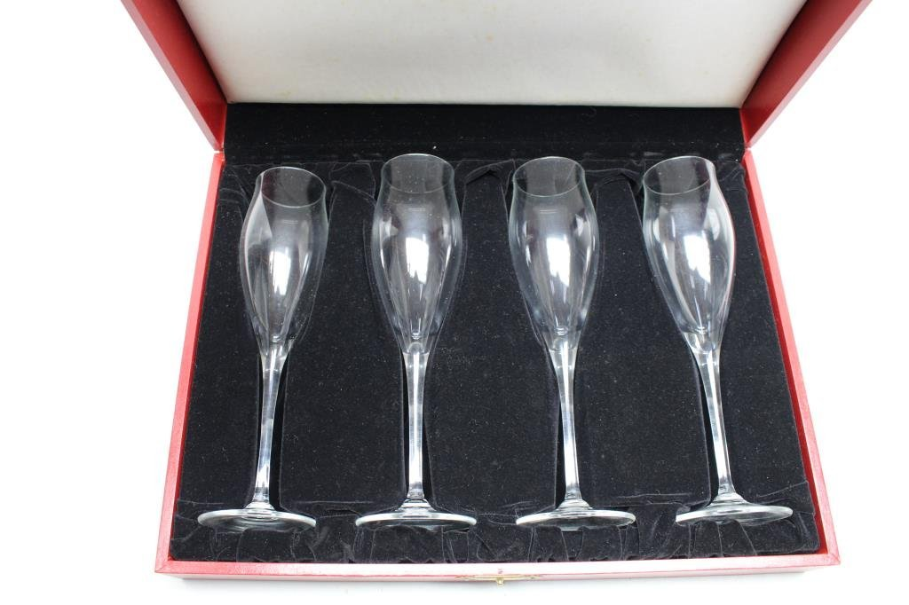Signed Cartier Boxed Champagne Flutes (4) Set - 5