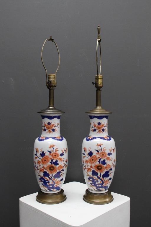 Pair of Imari Style Porcelain Lamps