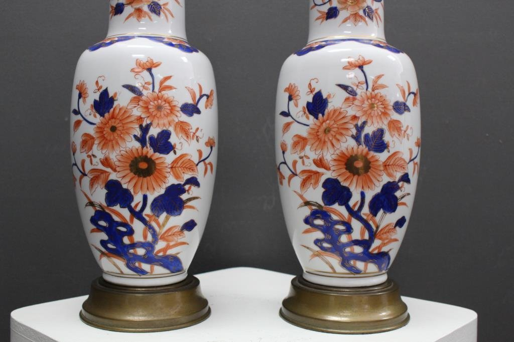 Pair of Imari Style Porcelain Lamps - 2