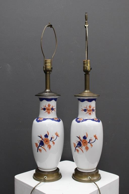 Pair of Imari Style Porcelain Lamps - 5