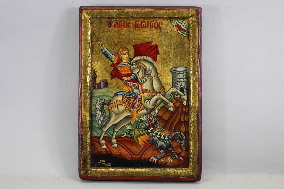"""""""St. George on His Horse"""" Russian Icon"""
