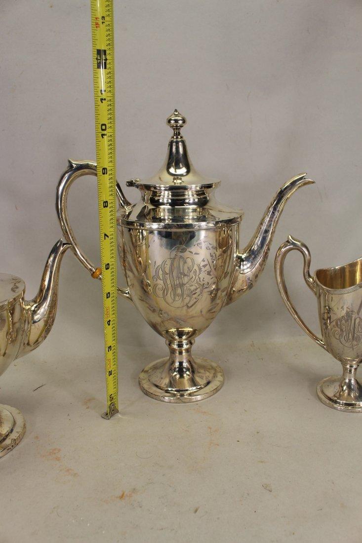 Monogrammed Schofield Sterling Silver Tea Set - 3