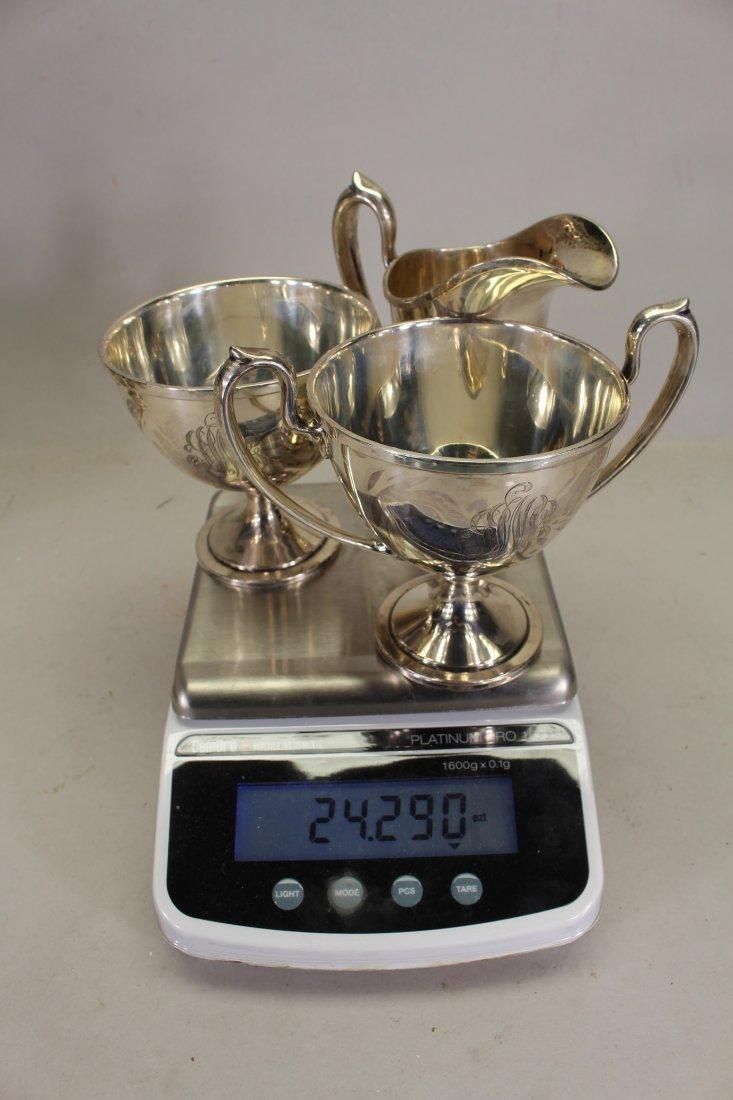 Monogrammed Schofield Sterling Silver Tea Set - 5